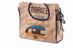 Time to get away and embrace your wanderlust with this colorful bag made of fine natural jute fibers. Size: W x H x D; Magnetic snap Embrace Your Wanderlust by Pragai Couture. Burlap Tote, Discount Nikes, Discount Purses, Country Sweatshirts, Work Travel, Cute Sweaters, Happy Campers, Travel Luggage, Travel Essentials