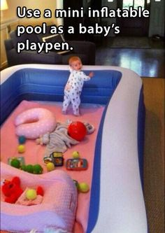 Use a mini inflatable pool as a babies playpen - #Kids, #Parent