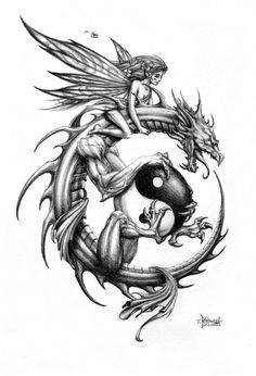 Tattoo design for a friend's shoulder. Turns out the dragon is a little butch for her liking though, understandably. Back to the sketch pad!