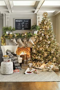 Christmas Awesome Contemporary Christmas Scheme: Awesome Christmas Decor Ideas With Christmas Decor And Any Ornament Also Light Installation And Fireplace Also Mantels And Stocking And White Arm Chair Also Wooden Floor And Synthetic Rug