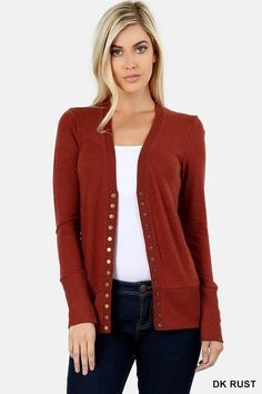 369d0f8973e40 Long Sleeve Essential Snap Cardigan. Women s CardigansCardigans For  WomenSweatersBurgundy SweaterSimply Sage MarketDetailTag ...