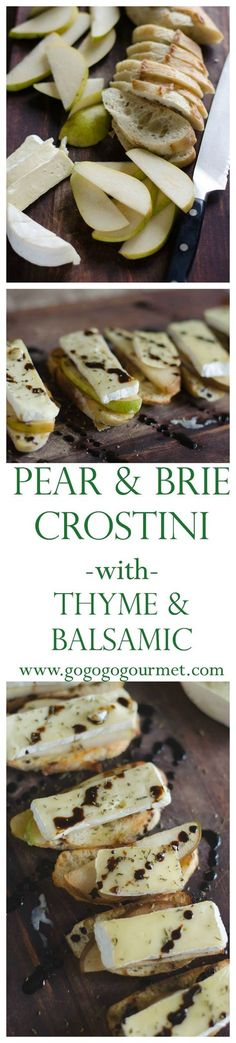 So quick and easy, everyone is guaranteed to love this delicious appetizer. Pear and Brie Crostini with Thyme and Balsamic. Go Go Go Gourmet /gogogogourmet/ Finger Food Appetizers, Yummy Appetizers, Appetizers For Party, Appetizer Recipes, Party Canapes, Brie Appetizer, Party Recipes, Tapas, Snacks Für Party