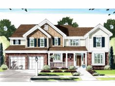 A+ New American House Plan with 2198 Square Feet and 4 Bedrooms(s) from Dream Home Source   House Plan Code DHSW59037