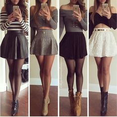 black and white tartan skater skirt outfit - Google Search