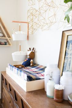 """Perfect for tiny spaces...the hanging diaper accessories storage """"pot planters"""" (BITTERGURKA-IKEA) - love it!"""