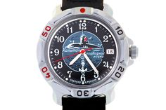 """WATCH VOSTOK KOMANDIRSKIE 811831 SUBMARINE CAPTAIN. In the center of the black watch face there is a round medallion with the image of a nuclear submarine with a red five-pointed star on the cabin, going on the waves and surrounded by seagulls. The inscription on the medallion reads """"Captain of a Submarine"""". #russian #mechanical #military #watches #vostok #komandirskie #gifts #souvenirs #anchor #submarine"""