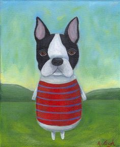 Boston Terrier painting by Spiral Forest Studio