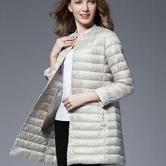edf416b2789 Woman Spring Padded Warm Coat Ultra Light Duck Down Jacket Long Female  Overcoat Slim Solid Jackets Winter Coat Portable Parkas