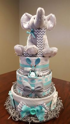 Elephant chevron diaper cake! It's a boy,  just as cute as the original.  Check out my Facebook page Simply Showers for more pics and orders. https://m.facebook.com/adorablegifts