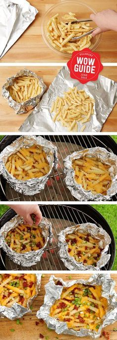 Foil-Pack Cheesy Fries Cheesy delicious french fries made in a foil pack on the grill - add chili for easy chili cheese fries!Cheesy delicious french fries made in a foil pack on the grill - add chili for easy chili cheese fries! Think Food, I Love Food, Good Food, Yummy Food, Batata Potato, Chili Cheese Fries, Bacon Fries, Camping Meals, Tent Camping