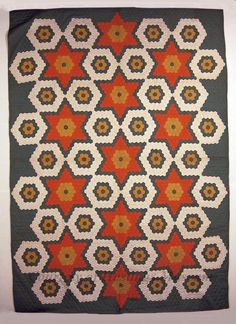 Mosaic/Flower Garden, Mother of Irma Cruse, Hastings, Nebraska. Uploaded by pinner Old Quilts, Antique Quilts, Star Quilts, Vintage Quilts, Hexagon Quilt Pattern, Quilt Patterns, Hastings Nebraska, Crazy Patchwork, English Paper Piecing
