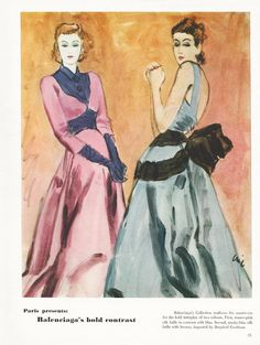 Illustration by Carl Oscar August Erickson, Vogue, March 15, 1940Pictured: Balenciaga