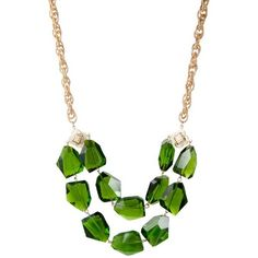 K. Amato Giant Crystal Necklace ($75) ❤ liked on Polyvore featuring jewelry, necklaces, green, accessories, crystal stone jewelry, green jewelry, k. amato, crystal necklace and crystal jewelry