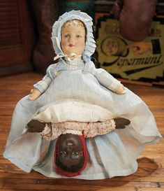 The Blackler Collection (Part 2 of 2-Vol set): 286 American Cloth Lithographed Topsy-Turvy Doll with Pressed Mask Face by Bruckner