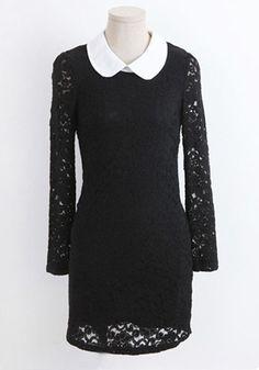 Black Zipper Double-deck Lapel Above Knee Lace Dress