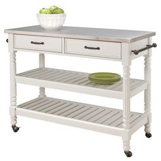 Display a fresh floral bouquet or stow kitchen essentials with this lovely cart, showcasing 2 drawers, 2 slatted shelves and a stainless steel top.   ...