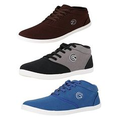 Globalite Men's Multicolor Cotton Combo Of 3 Sneakers - 9