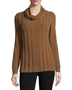 Long-Sleeve Cowl-Neck Cashmere Sweater, Coconut Melange