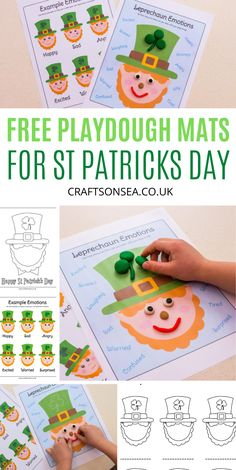 Free St Patricks Day activity for kids - free playdough mats to download perfect for preschoolers St Patrick Day Activities, Morning Activities, Activities For Kids, St Patricks Day Crafts For Kids, St Patrick's Day Crafts, Rainbow Playdough, Shamrock Template, Fun Projects For Kids, Tissue Paper Crafts