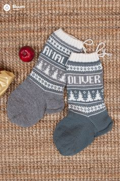 Strikk koselige julestrømper til jul - velg navn og farger! Baby Knitting, Christmas Diy, Knitwear, Knit Crochet, Diy And Crafts, Winter, Diys, How To Make, Handmade