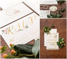 Handpainted Floral Invitation Suite with Monogram Tag // shopsaltandpaperie.com/pages/bridal-collection