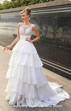 Bateau Neckline Empire Waist Ruffles Lace Layered A-line Wedding Gown