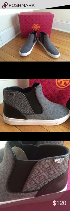 Tory Burch Marion Quilted High Top Sneaker Felt/mini Grain Leather Slip On. Beautiful quilting on the sides with Tory Burch logo. Worn only once. Runs big so fits like an 8. Will come with box and Tory Burch packaging. Tory Burch Shoes Sneakers