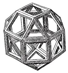 Leonardo da Vinci's rhombicuboctahedron    http://en.wikipedia.org/wiki/Rhombicuboctahedron