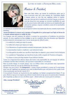 Lettre ouverte à François Hollande | Fondation Brigitte Bardot - le 27/04/2016