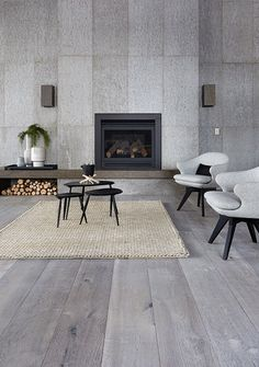 Natural Grey Wall Panel and Pale Grey in French Oak Floorboards Grey Flooring, Interior, Home, Grey Walls, Oak Timber Flooring, Flooring, Concreate Floors, Interior Design, French Oak Flooring