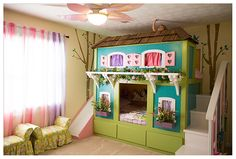 I have been busy updating the girls room.  They asked for bunk beds, so I got on Pinterest and found these.   My carpenter did a fabulous job on them!!!!!  I on the other hand painted it and it was not fun!!   Too many colors and lot of paint!  But at least it is all done now and the girls…