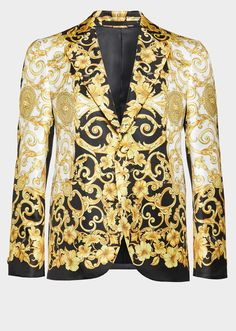 Versace Gold Hibiscus Silk Blazer for Men Versace Gold, Versace Suits, Versace Men, Blazer Outfits, Blazer Suit, Casual Outfits, Casual Shirt, Silk Jacket, Jacket Style