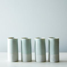 Porcelain Ribbed Tumblers (Set of 4) on Provisions by Food52 OMG!!! I want.