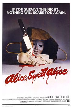 Go To Movies, Great Movies, Horror Movie Posters, Horror Movies, Alice Sweet Alice, Linda Miller, Brooke Shields, Fright Night, Movie Trailers