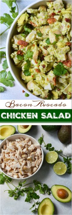 Bacon Avocado Chicken Salad Recipe Wanting to eat healthy and nutritious without giving up your favorite foods? This Bacon Avocado Chicken Salad Recipe is full of flavor, healthy fats, no-mayo and is friendly. Bacon Avocado, Avocado Recipes, Healthy Salad Recipes, Avocado Toast, Paleo Recipes, Real Food Recipes, Healthy Eating, Cooking Recipes, Healthy Fats Foods