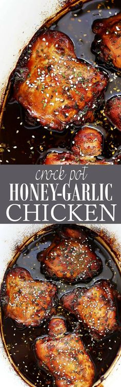 Youll love this easy crock pot recipe for chicken thighs cooked in honey garlic sauce. Only 5 ingredients + a couple seasonings. Super easy chicken recipe! #crockpot #chicken #chickenthighs #chickendinner
