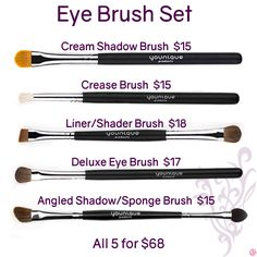 Eye Brush Set by Younique. Click to order. Want more information or tips, join my Facebook group at www.facebook.com/groups/106517206410341/