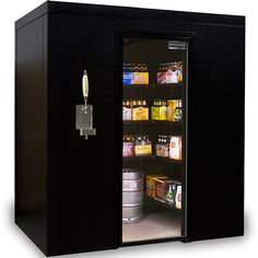 Brew Cave Walk-In Beer Cooler and Kegerator. Can store 30 cases + 4 Kegs AND it has a tap! Why don't I already own this?