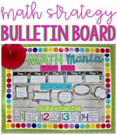 This math bulletin board includes problems solving steps, accountable talk, levels of understanding, key words, and forms for a data wall. This is a great way to have a learning focused bulletin board for back to school. Math Focus Walls, Math Word Walls, Math Focus Board, Math Bulletin Boards, Math Boards, Math Classroom Decorations, Classroom Ideas, School Classroom, Math Wall