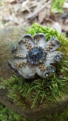 Moon flower pendant. Made of vintage antique pieces.