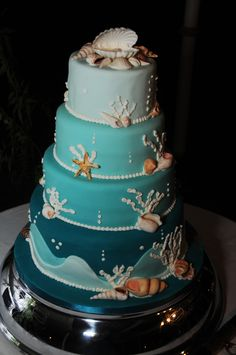 Sea and shells wedding cake