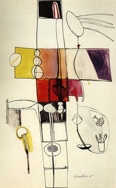 Untitled by Eva Hesse, 1965.      Eva Hesse (1936-1970) was a German-born American sculptor and painter known for her pioneering work in materials such as latex, fiberglass, and plastics. In 1969 she was diagnosed with a brain tumor and died a year later.
