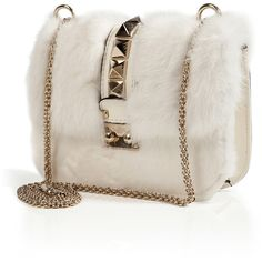 VALENTINO Leather/Mink Studded Shoulder Bag ($2,100) ❤ liked on Polyvore featuring bags, handbags, shoulder bags, clutches, leather handbags, pink shoulder bag, studded leather handbag, pink studded purse and genuine leather handbags