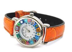 Murano watch with orange leather band ❤️
