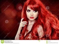 long curly red hair | Coloring Red Hair. Fashion Girl Portrait With Long Curly Hair over ...