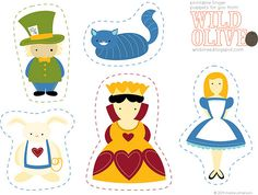Alice and wonderland printable finger puppets.  Would make good felt board pieces, too.