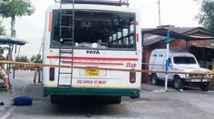 An SRTC bus damaged in the militant attack at Kud on Monday.