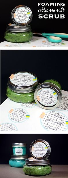 Foaming Celtic Sea Salt Scrub Recipe for Mother's Day! This foaming Celtic sea salt scrub recipe contains light grey Celtic sea salt to moisturize, revitalize, exfoliate, and detox skin and calm inflammation. Plus there are free printable labels so you can easily gift this sea salt scrub as a homemade Mother's Day gift!