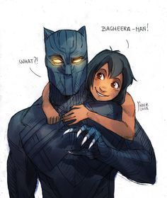 Black Panther and Mowgli by Maby-chan<<<YES YES YES MY CHILDHOOD JUST YES