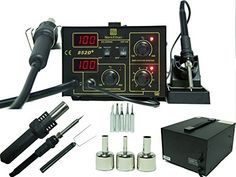 2 in 1 SMD Soldering Hot Air Rework Station + Stand 3 Nozzle 5 Tips 852d+ Iron Mark Ethan